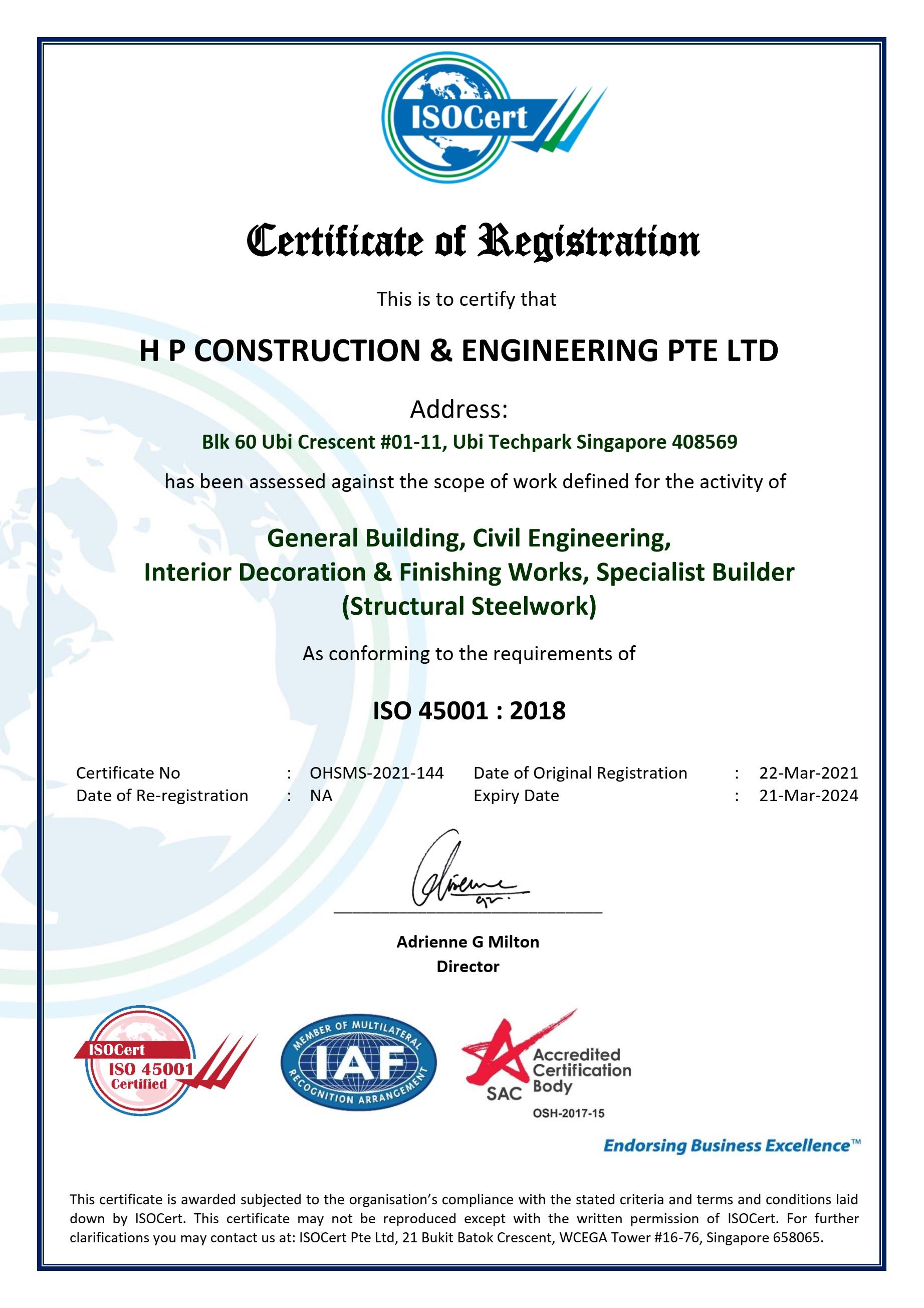 ISO 45001 - Certificate v1